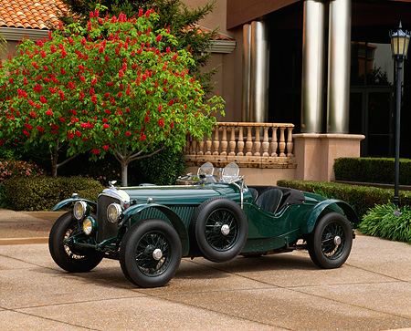 AUT 19 RK0330 02 © Kimball Stock 1937 Bentley Derby Special Green 3/4 Side View By Museum