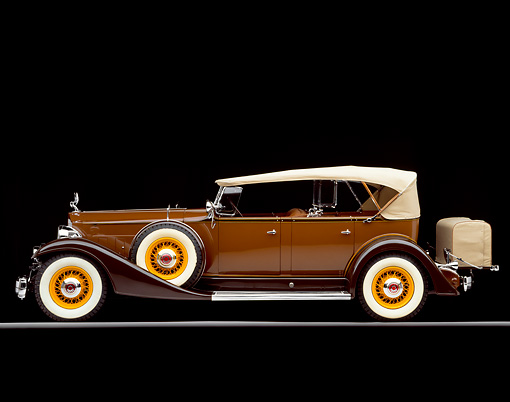 AUT 19 RK0410 06 © Kimball Stock 1933 Packard Phaeton Model 1005 Duel Windshield Brown Side View On Gray Line Studio