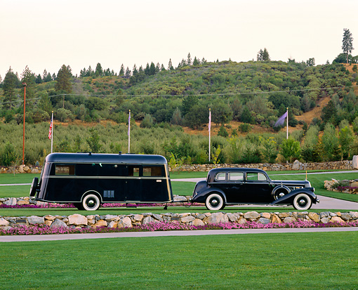 AUT 19 RK0440 05 © Kimball Stock 1936 Pierce Arrow Travelodge Black Side View By Grass And Flowers