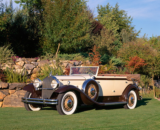 AUT 19 RK0445 01 © Kimball Stock 1931 Packard 840 Convertible Sedan Brown And Tan 3/4 Side View On Grass By Trees