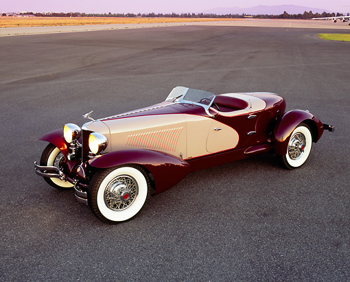 AUT 19 RK0540 01 © Kimball Stock 1931 Cord L29 Speedster Burgundy And Beige Overhead Side 3/4 View On Pavement