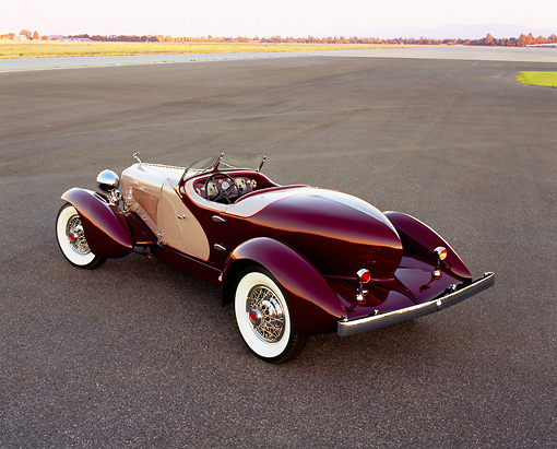 AUT 19 RK0541 05 © Kimball Stock 1931 Cord L29 Speedster Burgundy And Beige Overhead Rear 3/4 View On Pavement