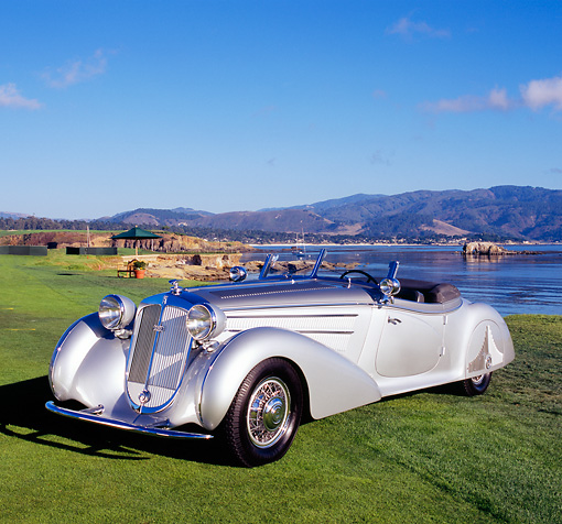 AUT 19 RK0549 05 © Kimball Stock 1938 Horch 853A Sport Cabriolet Silver 3/4 Front View On Grass By Water