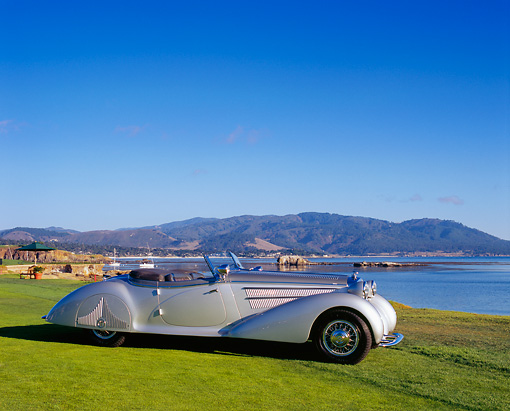 AUT 19 RK0551 04 © Kimball Stock 1938 Horch 853A Sport Cabriolet Silver 3/4 Front View On Grass By Water