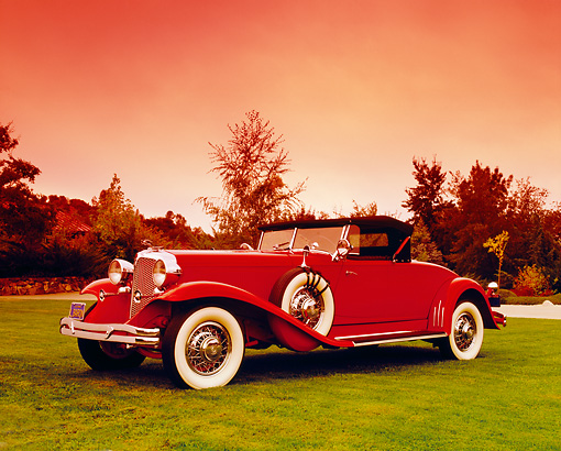 AUT 19 RK0566 02 © Kimball Stock 1931 Chrysler CG Imperial Red 3/4 Front View On Grass By Trees