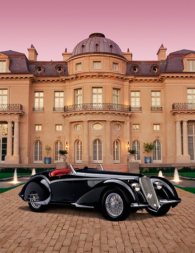 AUT 19 RK0573 01 © Kimball Stock 1937 Alfa Romeo 8C 2900B Spider Black Carolands Chateau Background