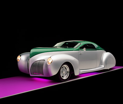 AUT 19 RK0619 04 © Kimball Stock 1939 Lincoln Zephyr Almond Green And Silver 3/4 Front View Studio