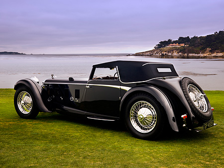 AUT 19 RK0652 01 © Kimball Stock 1931 Daimler Double-Six 50 Corisica Drophead Coupe Black 3/4 Rear View On Grass By Water