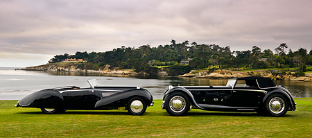 AUT 19 RK0654 01 © Kimball Stock 1931 Daimler Double-Six 50 Corisica Drophead Coupe Black 1939 Bugatti Type 57C Voll & Ruhrbeck Cabriolet