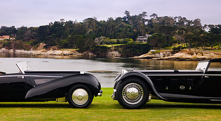 AUT 19 RK0655 01 © Kimball Stock 1931 Daimler Double-Six 50 Corisica Drophead Coupe Black 1939 Bugatti Type 57C Voll & Ruhrbeck Cabriolet