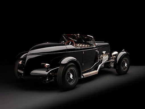 AUT 19 RK0662 01 © Kimball Stock 1934 Zephyr Boat-tail Roadster Black 3/4 Rear View Studio