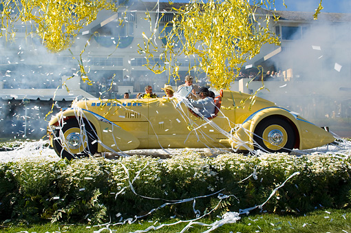 AUT 19 RK0664 01 © Kimball Stock 1935 Duesenberg SJ Speedster Yellow Profile Best Of Show Confetti Smoke