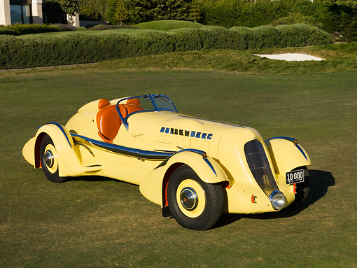 AUT 19 RK0667 01 © Kimball Stock 1935 Duesenberg SJ Speedster Yellow Front 3/4 Overhead Shot On Grass