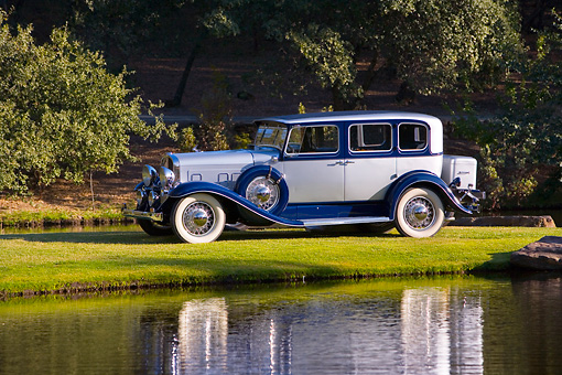 AUT 19 RK0685 01 © Kimball Stock 1931 Franklin 153 Sedan Gray And Blue Front 3/4 View On Grass By Pond Trees
