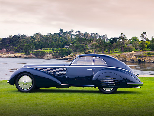 AUT 19 RK0712 01 © Kimball Stock 1938 Alfa Romeo 8C 2900B Touring Blue Profile View On Grass By Ocean Best Of Show Pebble Beach