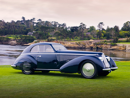 AUT 19 RK0713 01 © Kimball Stock 1938 Alfa Romeo 8C 2900B Touring Blue 3/4 Front View On Grass By Ocean Best Of Show Pebble Beach