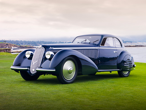 AUT 19 RK0714 01 © Kimball Stock 1938 Alfa Romeo 8C 2900B Touring Blue 3/4 Front View On Grass By Ocean Best Of Show Pebble Beach
