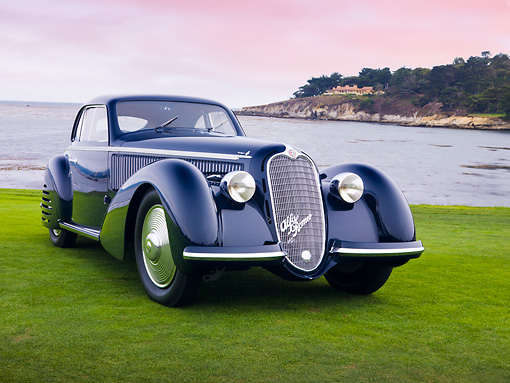 AUT 19 RK0715 01 © Kimball Stock 1938 Alfa Romeo 8C 2900B Touring Blue 3/4 Front View On Grass By Ocean Best Of Show Pebble Beach