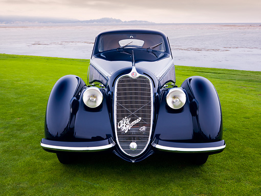 AUT 19 RK0716 01 © Kimball Stock 1938 Alfa Romeo 8C 2900B Touring Blue Front View On Grass By Ocean Best Of Show Pebble Beach