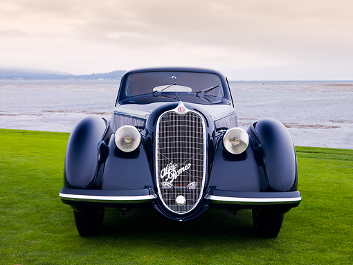 AUT 19 RK0717 01 © Kimball Stock 1938 Alfa Romeo 8C 2900B Touring Blue Front View On Grass By Ocean Best Of Show Pebble Beach