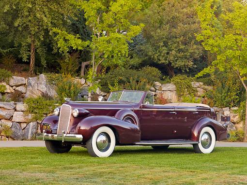 AUT 19 RK0728 01 © Kimball Stock 1937 Cadillac 7529 Convertible Maroon 3/4 Front View On Grass By Trees