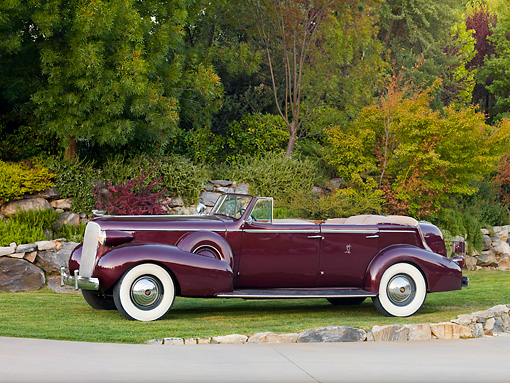 AUT 19 RK0732 01 © Kimball Stock 1937 Cadillac 7529 Convertible Maroon 3/4 Front View On Grass By Trees