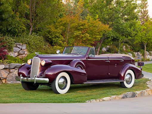 AUT 19 RK0735 01 © Kimball Stock 1937 Cadillac 7529 Convertible Maroon 3/4 Front View On Grass By Trees