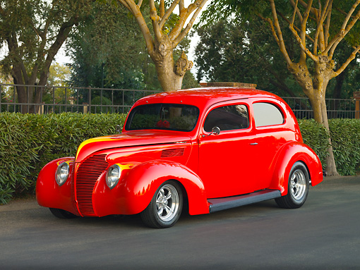 AUT 19 RK0737 01 © Kimball Stock 1939 Ford Standard Coupe Red 3/4 Front View On Pavement By Trees