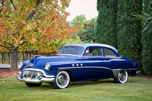 AUT 20 BK0009 01 © Kimball Stock 1949 Buick Roadmaster Blue 3/4 Front View By Autumn Trees And Vineyard