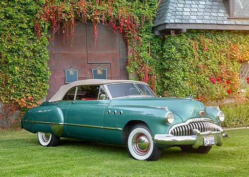 AUT 20 BK0010 01 © Kimball Stock 1949 Buick Eight Super Convertibe Green 3/4 Front View By Building
