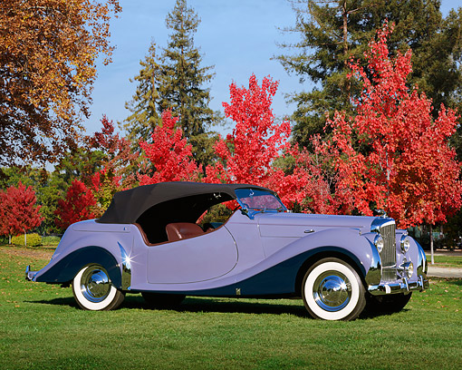AUT 20 RK0183 01 © Kimball Stock 1948 Bentley Periwinkle 3/4 Profile On Grass By Autumn Trees