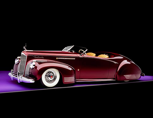 AUT 20 RK0232 04 © Kimball Stock 1941 Packard Convertible Custom Burgundy