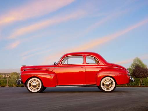 AUT 20 RK0400 01 © Kimball Stock 1941 Mercury Club Coupe Red Profile View On Pavement