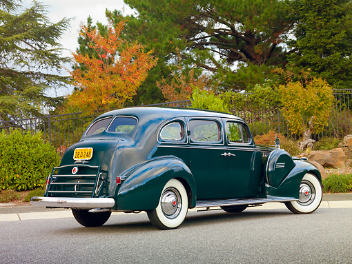 AUT 20 RK0419 01 © Kimball Stock 1940 Packard 160 Touring Sedan 1804 Green 3/4 Rear View On Pavement By Trees