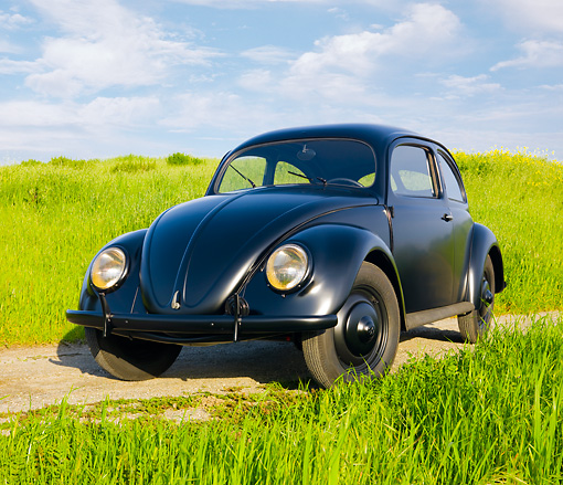 AUT 20 RK0423 01 © Kimball Stock 1946 Volkswagen Beetle Black 3/4 Front View On Dirt Road By Field