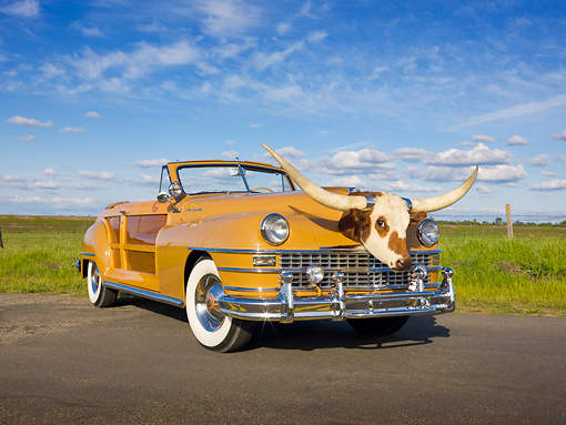AUT 20 RK0460 01 © Kimball Stock 1947 Chrysler Town & Country Tan Convertible With Longhorn Steer Head 3/4 Front View On Pavement