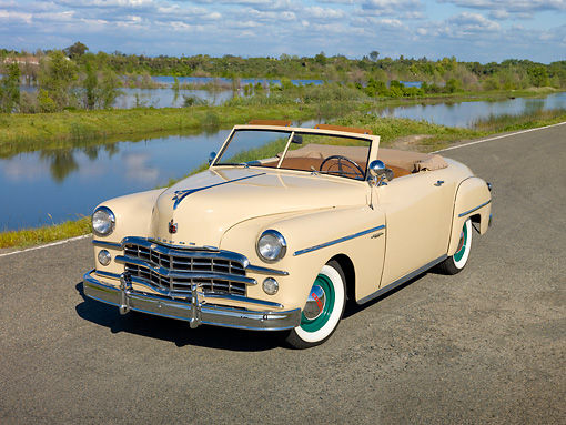 AUT 20 RK0472 01 © Kimball Stock 1949 Dodge Wayfarer Roadster Cream 3/4 Front View On Road By Marsh