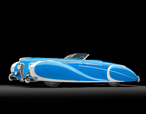 AUT 20 RK0494 01 © Kimball Stock 1949 Delahaye 175 S Saoutchik Roadster Blue 3/4 Side View In Studio