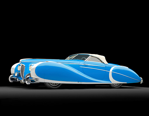 AUT 20 RK0495 01 © Kimball Stock 1949 Delahaye 175 S Saoutchik Roadster Blue 3/4 Side View In Studio