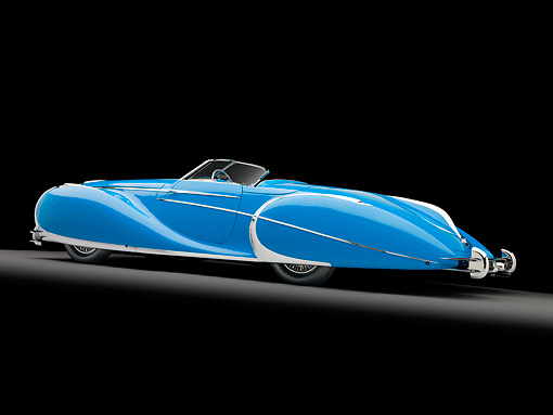 AUT 20 RK0496 01 © Kimball Stock 1949 Delahaye 175 S Saoutchik Roadster Blue 3/4 Rear View In Studio