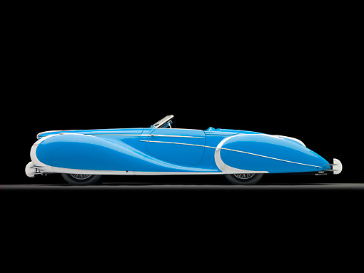 AUT 20 RK0497 01 © Kimball Stock 1949 Delahaye 175 S Saoutchik Roadster Blue Profile View In Studio