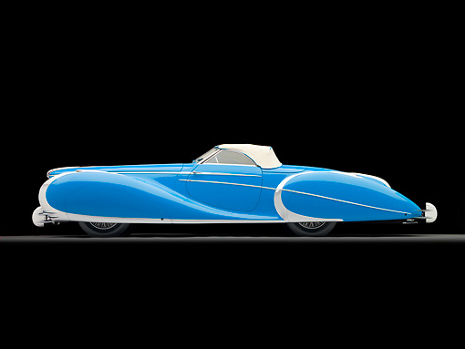 AUT 20 RK0498 01 © Kimball Stock 1949 Delahaye 175 S Saoutchik Roadster Blue Profile View In Studio