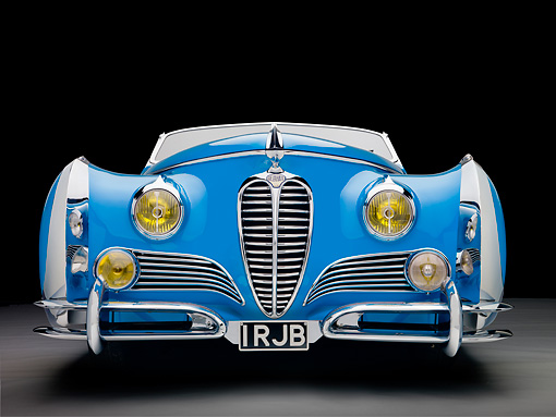 AUT 20 RK0499 01 © Kimball Stock 1949 Delahaye 175 S Saoutchik Roadster Blue Front View In Studio
