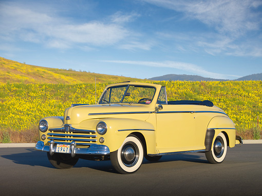 AUT 20 RK0505 01 © Kimball Stock 1947 Ford Super Deluxe Convertible Yellow 3/4 Front View On Pavement By Wildflowers