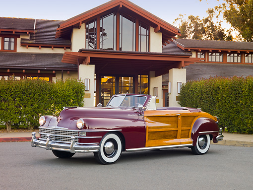 AUT 20 RK0522 01 © Kimball Stock 1946 Chrysler Town & Country Convertible Red 3/4 Side View On Pavement By House