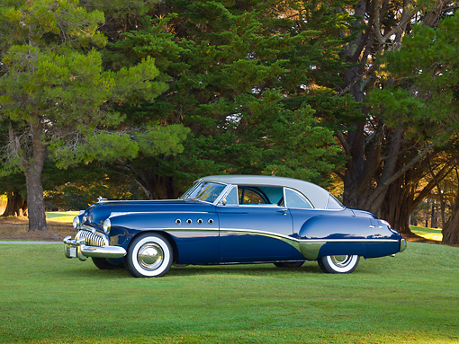 AUT 20 RK0525 01 © Kimball Stock 1949 Buick Roadmaster Blue And Gray Profile View On Grass By Trees