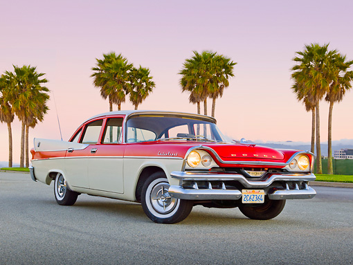 AUT 20 RK0566 01 © Kimball Stock 1957 Dodge Custom Royal Lancer Red And White 3/4 Front View On Pavement By Palm Trees