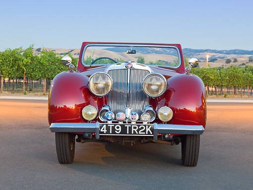AUT 20 RK0580 01 © Kimball Stock 1949 Triumph 2000 Roadster Red Front View On Pavement By Vineyard