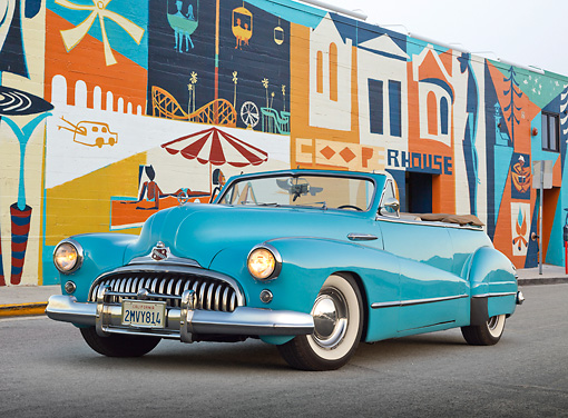 AUT 20 RK0606 01 © Kimball Stock 1946 Buick Super Convertible Blue 3/4 Front View On Pavement By Mural