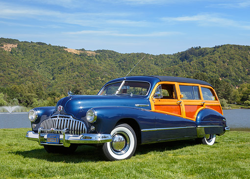 AUT 20 RK0677 01 © Kimball Stock 1946 Buick 592 Blue 3/4 Front View On Grass By Pond